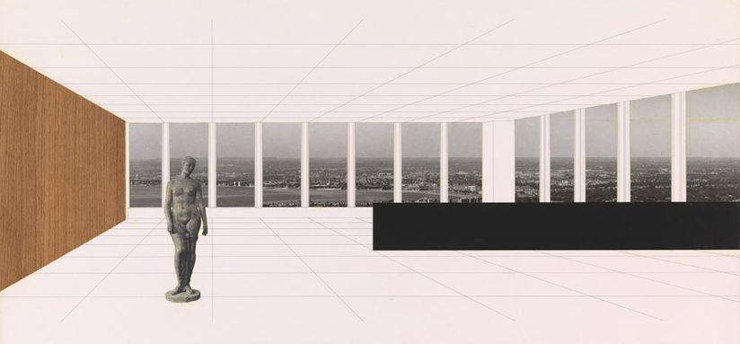 """Ludwig Mies van der Rohe, Georg Schaefer Museum Project, Schweinfurt, Germany, Interior perspective with view of site, 1960-1963. New York, Museum of Modern Art (MoMA). Ink and photo collage on illustration board, 30 x 40"""" (76.2 x 101.6 cm). Mies van der R"""