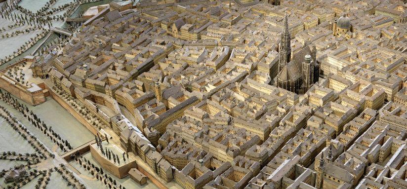 Plastisches Modell der inneren Stadt mit dem Glacis, 1852/54 (Ausschnitt); Foto: Eduard Fischer, © Wien Museum
