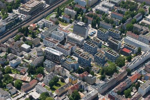 Stadtwerk Lehen Gesamtareal, Foto: PRISMA Zentrum für Standort- und Regionalentwicklung GmbH © ©PMU/Bavaria Luftbildverlags GmbH