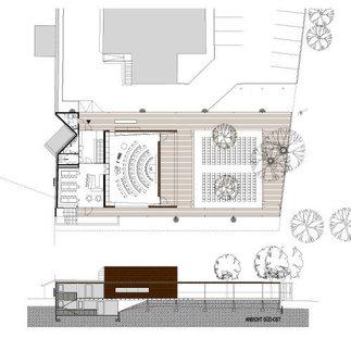 Musikprobelokal und Schützenheim Natters mit Veranstaltungsplatz, Plan: Manfred Gsottbauer